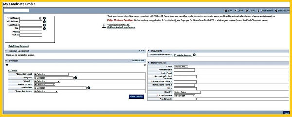 Screenshot of the main page of the Phillips 66 Careers Profile