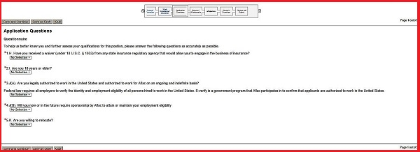 Screenshot of the Application Questionnaire section of the Aflac application form