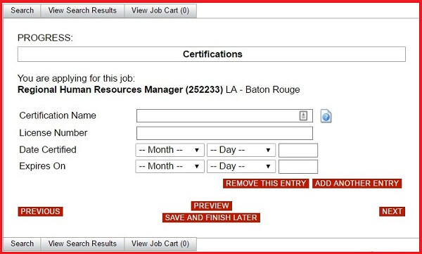 Screenshot of the Certification section of the Advance Auto Parts application form
