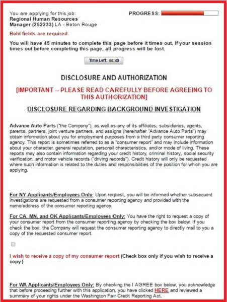 Screenshot of the Disclosure and Auhorization section of the Advance Auto Parts application form