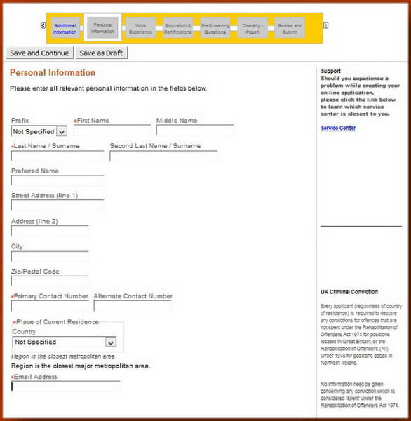 Screenshot of the Personal Information section of the Caterpillar application form