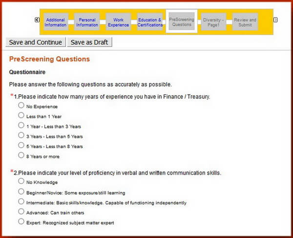 Screenshot of the PreScreening section of the Caterpillar application form