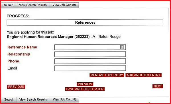 Screenshot of the References section of the Advance Auto Parts application form