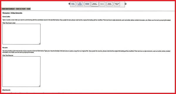 Screenshot of the Resume Attachments section of the Aflac application form
