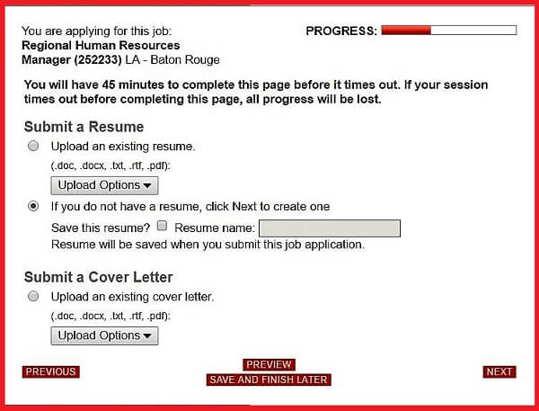 Screenshot of the Resume section of the Advance Auto Parts application form
