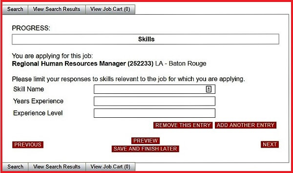 Screenshot of the Skills section of the Advance Auto Parts application form