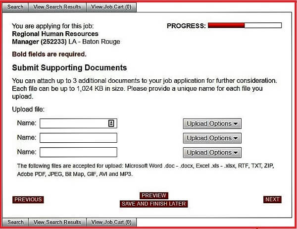 Screenshot of the Supporting Documents section of the Advance Auto Parts application form