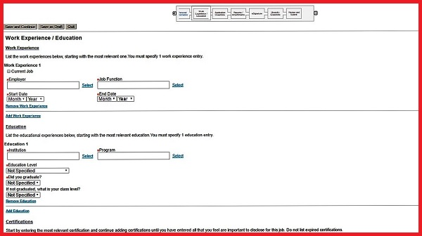 Screenshot of the Work Experience and Education section of the Aflac application form