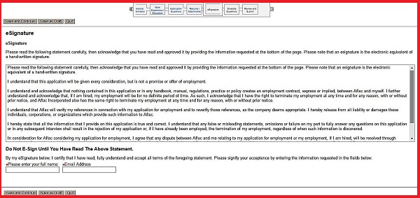 Screenshot of the eSignature section of the Aflac application form