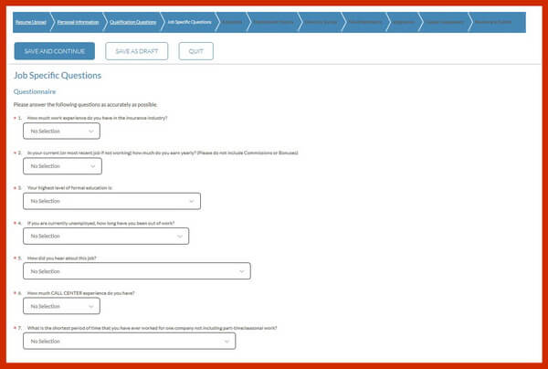 Screenshot of the Job Specific Questions section of the Geico careers application