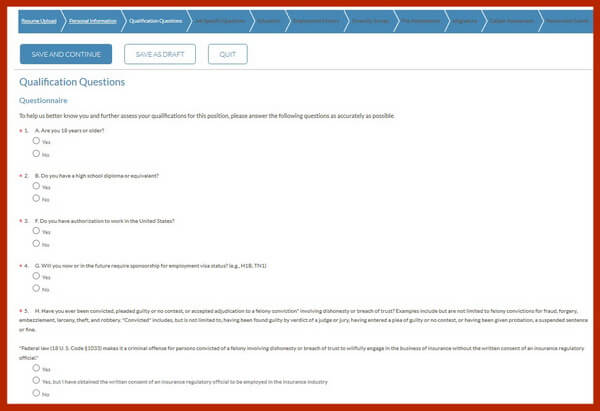 Screenshot of the Qualification Questions section of the Geico careers application