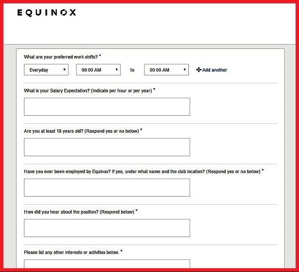 Screenshot of the Questionnaire in the Equinox Careers Application Form for Club Positions