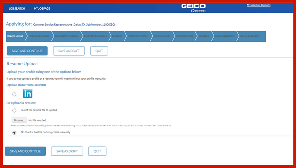 Screenshot of the main page of the Geico careers application