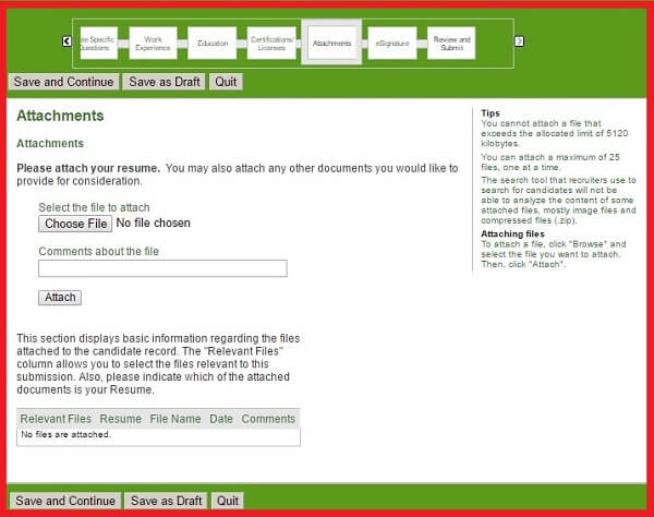 Screenshot of the Attachments Section of the Humana Careers Form