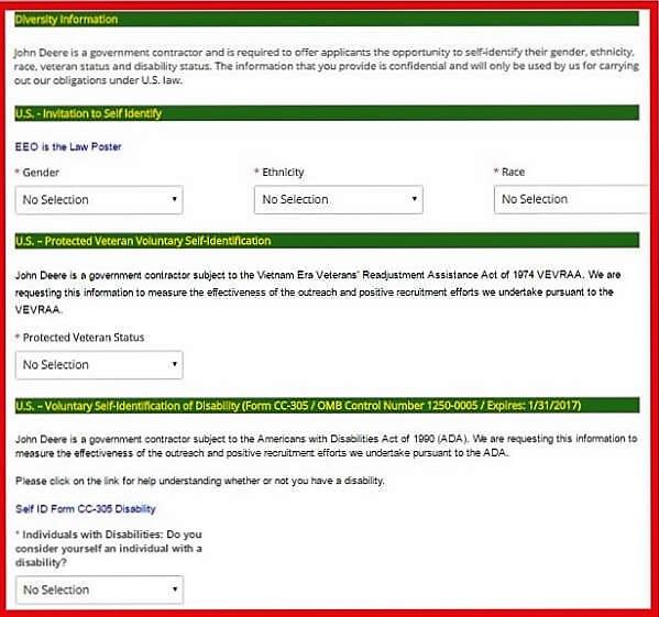 Screenshot of the John Deere Careers Portal - Diversity Information