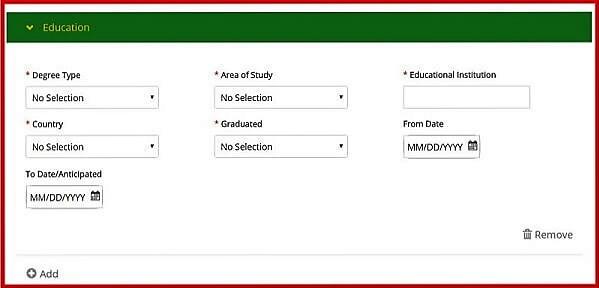 Screenshot of the John Deere Careers Portal - Education