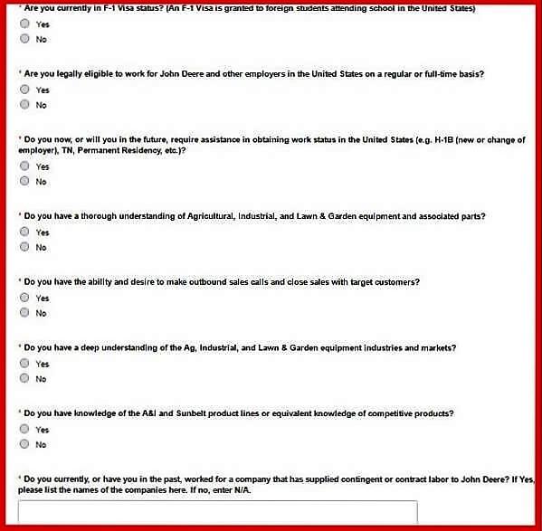 Screenshot of the John Deere Careers Portal - Job Specific Questions
