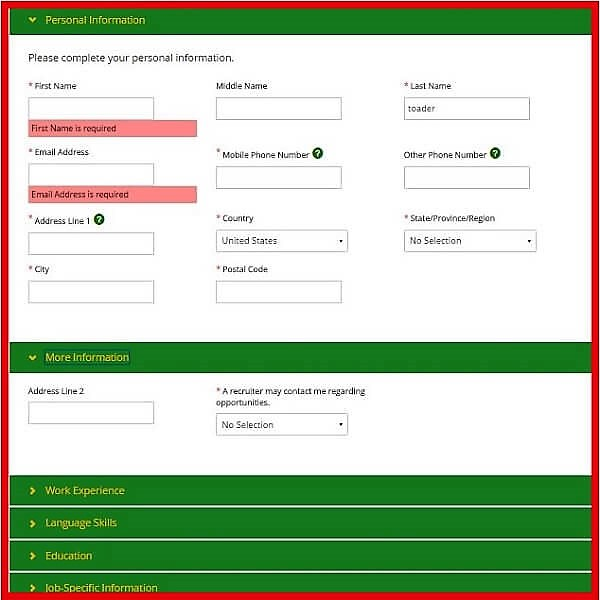 Screenshot of the John Deere Careers Portal - Personal Information