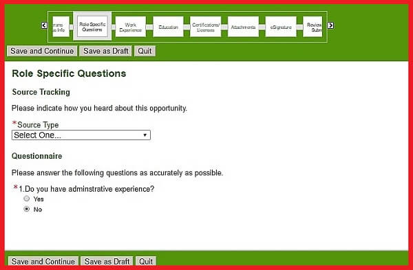 Screenshot of the Role Specific Questions Section of the Humana Careers Form