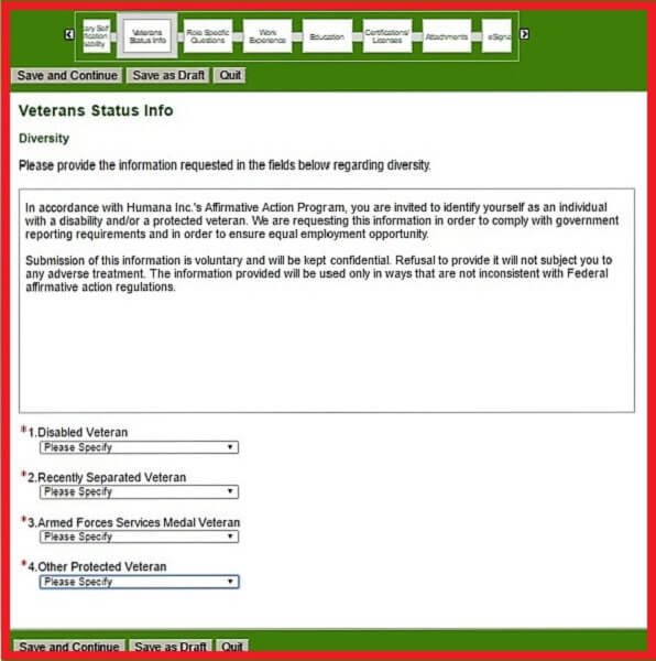 Screenshot of the Veteran Status Section of the Humana Careers Form