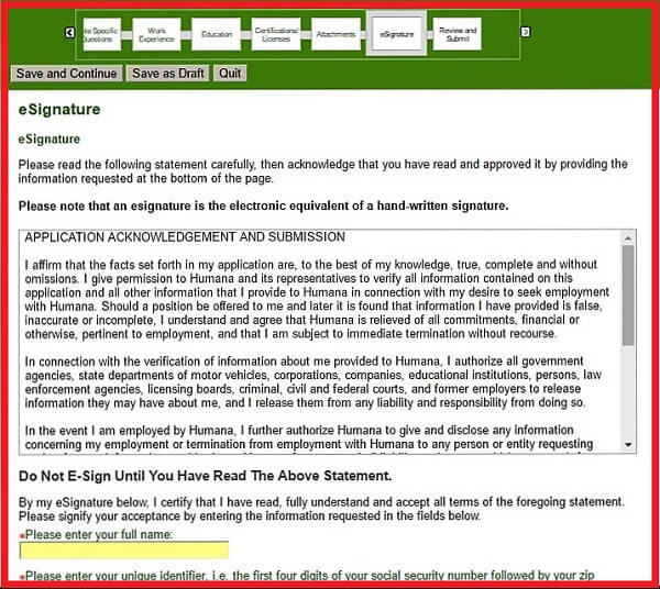 Screenshot of the eSignature Section of the Humana Careers Form