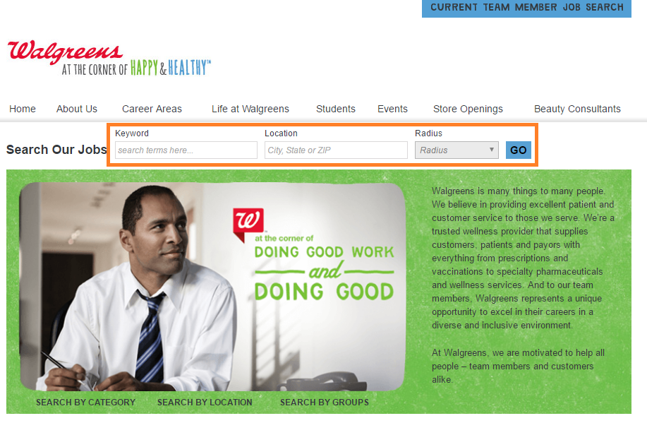 walgreens job search page screenshot