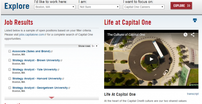 Capital One Careers Page