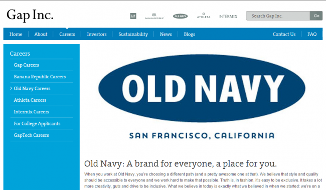 Old Navy Application - Old Navy Careers Page screenshot