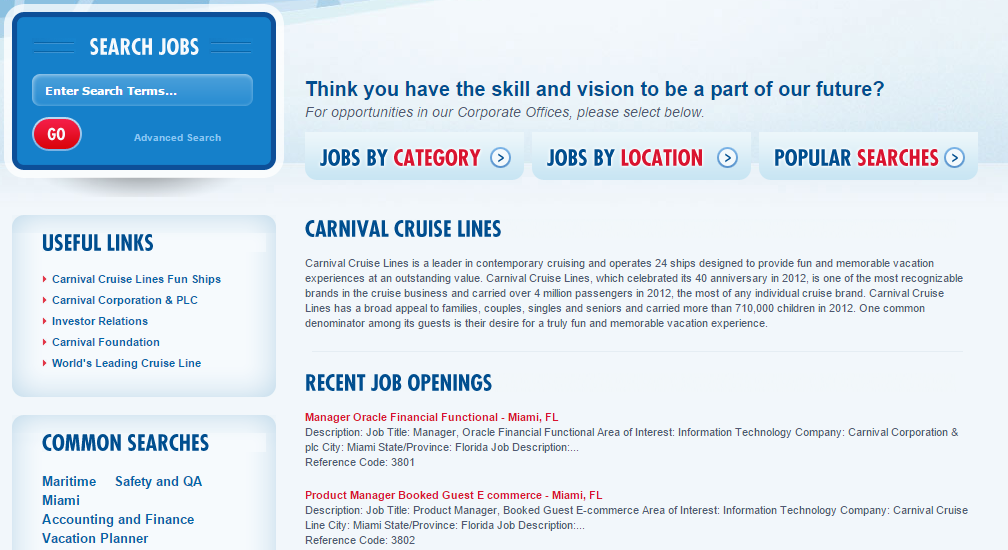 Carnival Careers Application and Careers 2