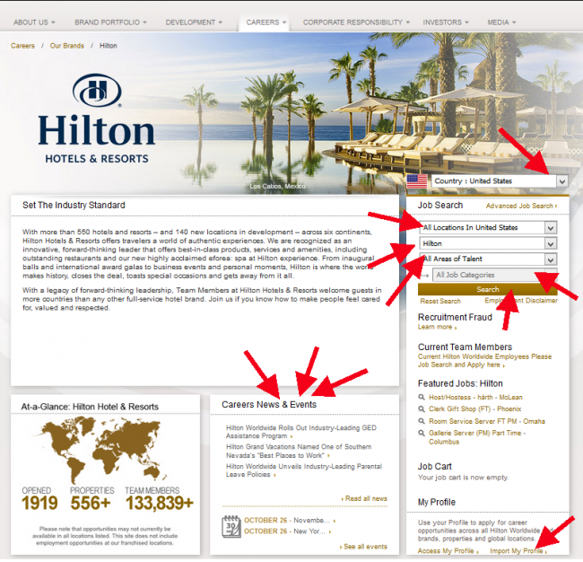 Hilton Hotel Application - Screenshot 1