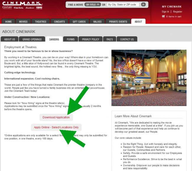 Cinemark Application - Screenshot 2