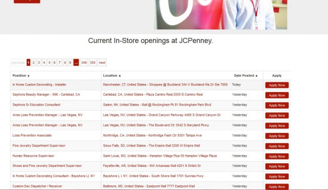 JCPenney job Application - Screenshot 3