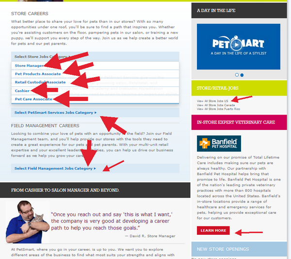 Explore the career options in your chosen PetSmart department and click on the one that is best for you to begin the PetSmart application process