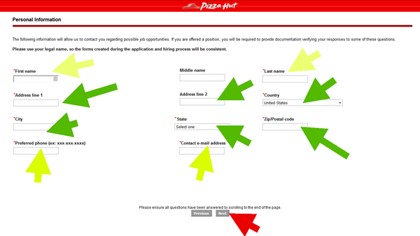Include your personal details this firs step of the Pizza Hut Application form