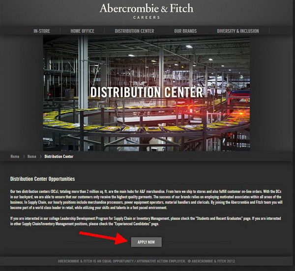 Apply for one of the Distribution Center careers via the Hollister application portal