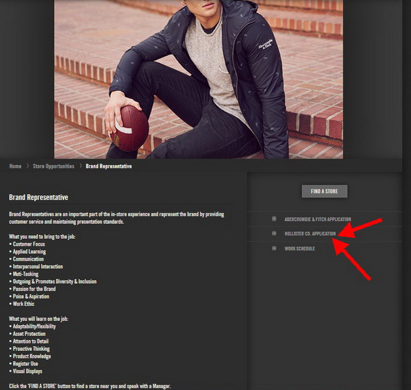 Find the right Brand Representative position through the Hollister application portal
