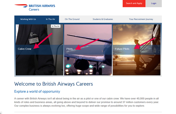 British Airways Application -Screenshot 2 - Browse all the opportunities for British Airways employment In the Air