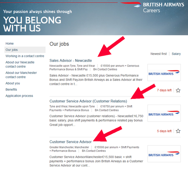 Browse the available British Airways careers in your chosen department and send your British Airways application