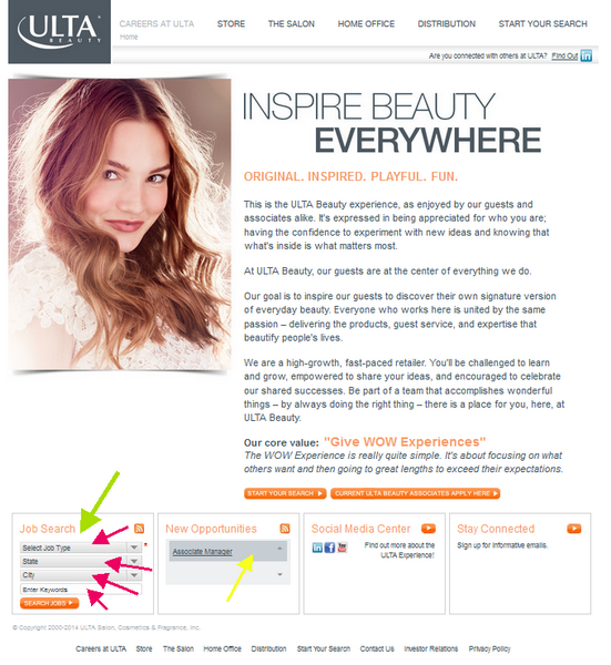 Use the ULTA application portal to find the best position for you.