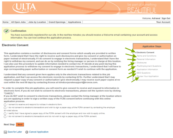 Read all about the ULTA application portal in this step of the employment form.