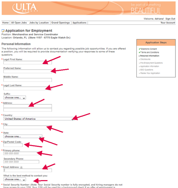 Include your full contact details for this section of the ULTA application form.
