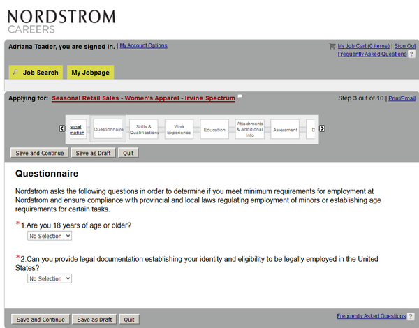 Answer these two questions to complete this section of the Nordstrom application form.