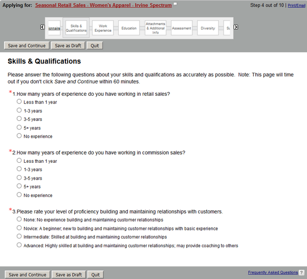 This is the Skills and Qualifications section of the Nordstrom application form for the Seasonal Retail Sales position.