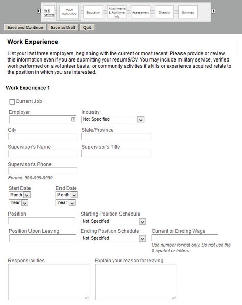 Fill in this section of the Nordstrom application form with relevant information about your professional experience.