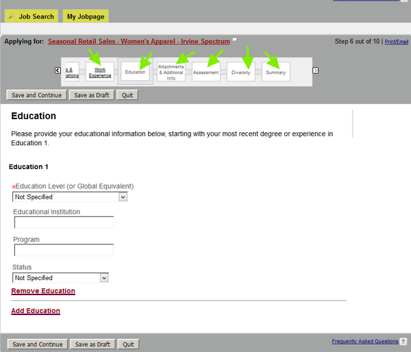 Fill out this section of the Nordstrom application from with relevant information about your academic experience.