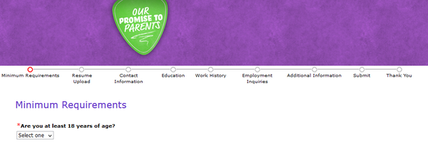 Screenshot of the Chuck E Cheese application process 2
