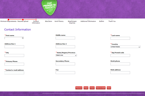 Screenshot of the Chuck E Cheese application process 3