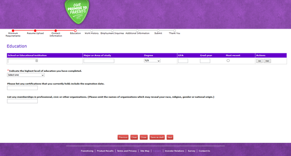 Screenshot of the Chuck E Cheese application process 4