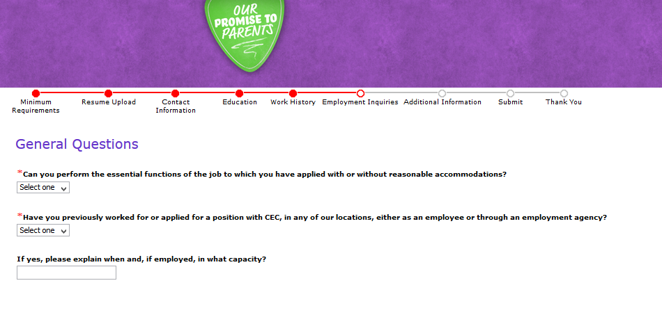Screenshot of the Chuck E Cheese application process 6