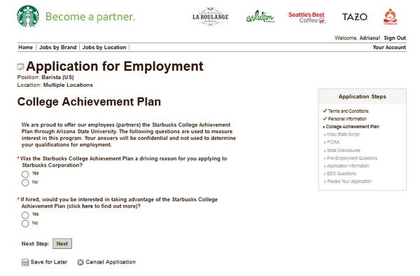 Screenshot Of The Starbucks Application Process 6